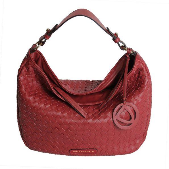 geanta dama impletita manual de culoare rubin fata
