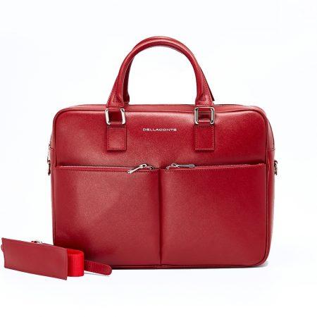 geanta unisex din piele rosie